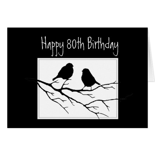 Happy  80th, Eightieth, Birthday Two Birds Greeting Cards
