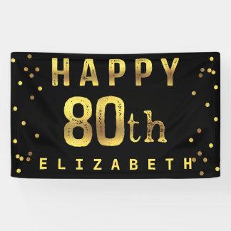 Happy 80th Faux Gold Foil Confetti Black Banner
