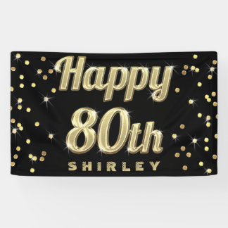 Happy 80th Gold Bling Typography Confetti Black Banner