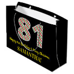 [ Thumbnail: Happy 81st Birthday & Merry Christmas, Custom Name Gift Bag ]