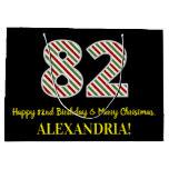 [ Thumbnail: Happy 82nd Birthday & Merry Christmas, Custom Name Gift Bag ]