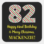 [ Thumbnail: Happy 82nd Birthday & Merry Christmas, Custom Name Sticker ]