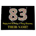 [ Thumbnail: Happy 83rd Birthday & Merry Christmas, Custom Name Gift Bag ]