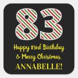 [ Thumbnail: Happy 83rd Birthday & Merry Christmas, Custom Name Sticker ]