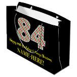 [ Thumbnail: Happy 84th Birthday & Merry Christmas, Custom Name Gift Bag ]