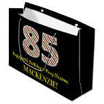 [ Thumbnail: Happy 85th Birthday & Merry Christmas, Custom Name Gift Bag ]