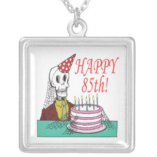 Happy 85th silver plated necklace