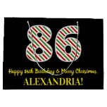 [ Thumbnail: Happy 86th Birthday & Merry Christmas, Custom Name Gift Bag ]