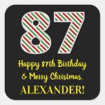 [ Thumbnail: Happy 87th Birthday & Merry Christmas, Custom Name Sticker ]