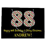 [ Thumbnail: Happy 88th Birthday & Merry Christmas, Custom Name Gift Bag ]