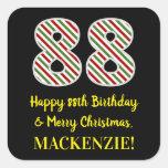 [ Thumbnail: Happy 88th Birthday & Merry Christmas, Custom Name Sticker ]