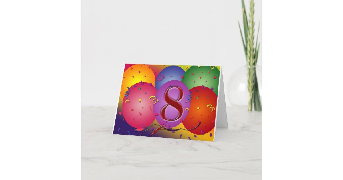 Happy 8th Birthday Balloons Card