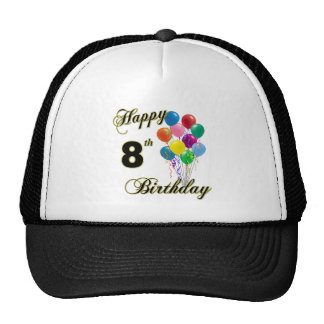 Happy 8th Birthday Caps and Baseball Hats