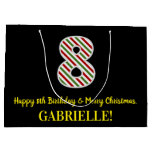 [ Thumbnail: Happy 8th Birthday & Merry Christmas, Custom Name Gift Bag ]