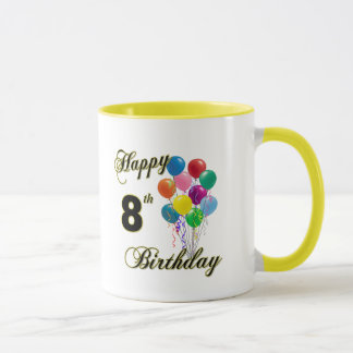 Happy 8th Birthday Mugs, Travel Mugs and Cups