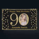 "Happy 90th Birthday Banner Black and Gold Photo<br><div class=""desc"">Happy 90th Birthday Banner Black and Gold Glitter Confetti with custom photo. Printable Digital. For further customization,  please click the ""Customize it"" button and use our design tool to modify this template.</div>"