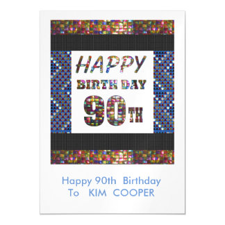 Happy 90th Birthday Change or delete Text msg 90 Magnetic Card