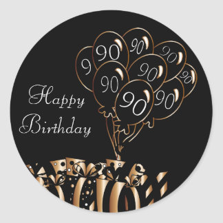 Happy 90th Birthday Classic Round Sticker