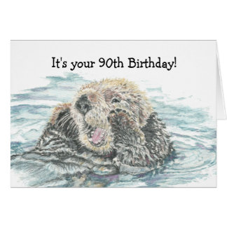 Happy 90th  Birthday Cute Excited Otter Humorous Greeting Card
