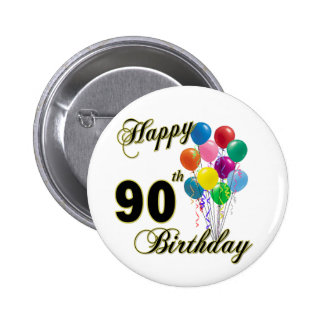 Happy 90th Birthday Gifts and Birthday Apparel Button