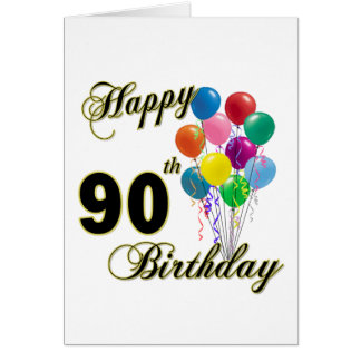 Happy 90th Birthday Gifts and Birthday Apparel Greeting Card