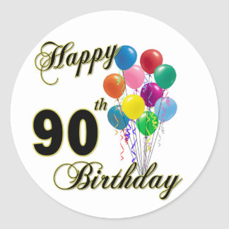 Happy 90th Birthday Gifts and Birthday Apparel Stickers