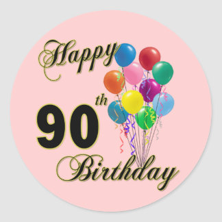 Happy 90th Birthday Gifts and Birthday Apparel Classic Round Sticker