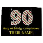 [ Thumbnail: Happy 90th Birthday & Merry Christmas, Custom Name Gift Bag ]