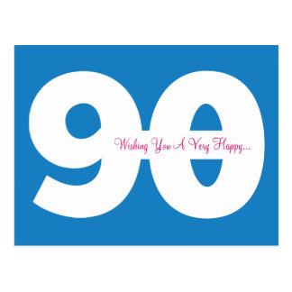 Happy 90th Birthday Milestone Postcards - in Blue