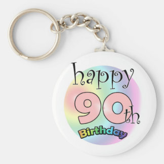 Happy 90th Birthday (pink) Keychain