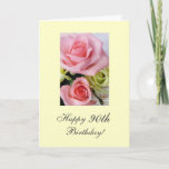 """Happy 90th Birthday roses Card<br><div class=""""desc"""">Greeting card with photo of roses. Existing Message: """" Happy Birthday 90th: """" We love you"""",  Add a personal message! Photography by Maria Santos ( Lusinhas do Sul)</div>"""