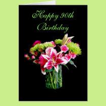 Happy 90th Birthday, Stargazer Lily Bouquet Card