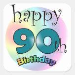 Happy 90th Birthday Vierkant Stickers