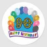 Happy 90th Birthday with Balloons Classic Round Sticker
