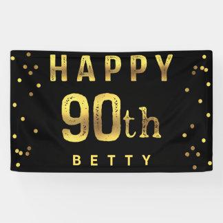 Happy 90th Faux Gold Foil Confetti Black Banner