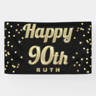 Happy 90th Gold Bling Typography Confetti Black Banner