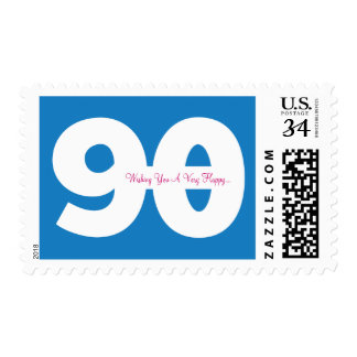 Happy 90th Milestone Birthday Stamps - in Blue