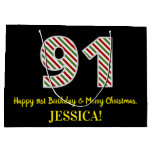 [ Thumbnail: Happy 91st Birthday & Merry Christmas, Custom Name Gift Bag ]