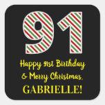 [ Thumbnail: Happy 91st Birthday & Merry Christmas, Custom Name Sticker ]
