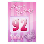 Happy 92nd Birthday Grand Mother Great-Aunt Mum Card