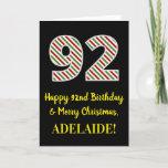 [ Thumbnail: Happy 92nd Birthday & Merry Christmas, Custom Name Card ]