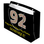 [ Thumbnail: Happy 92nd Birthday & Merry Christmas, Custom Name Gift Bag ]