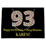 [ Thumbnail: Happy 93rd Birthday & Merry Christmas, Custom Name Gift Bag ]