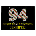 [ Thumbnail: Happy 94th Birthday & Merry Christmas, Custom Name Gift Bag ]