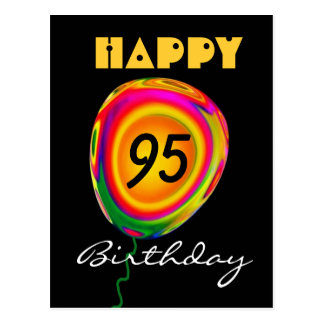 Happy 95 Birthday Colorful Gold Green Red Balloon Postcard