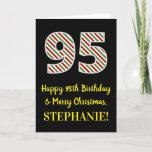 [ Thumbnail: Happy 95th Birthday & Merry Christmas, Custom Name Card ]
