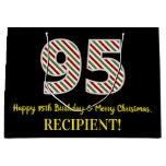[ Thumbnail: Happy 95th Birthday & Merry Christmas, Custom Name Gift Bag ]
