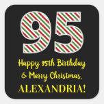 [ Thumbnail: Happy 95th Birthday & Merry Christmas, Custom Name Sticker ]