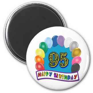 Happy 95th Birthday with Balloons 2 Inch Round Magnet