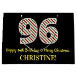 [ Thumbnail: Happy 96th Birthday & Merry Christmas, Custom Name Gift Bag ]